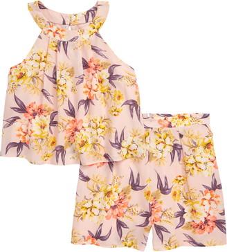 Zunie Floral Halter Top & Shorts Set