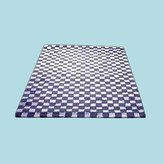Unknown Carpet Runners Blue/White Cotton Checked Hooked Runner 30 X 96""