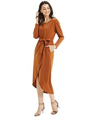 Basic Model Women's Casual Long Sleeve Slit Solid Party Long Maxi Dress