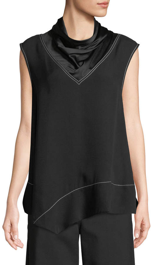Derek Lam Sleeveless Satin Mock-Neck Handkerchief Blouse