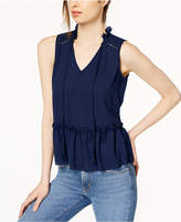 Maison Jules Tassel-Tie Ruffle-Trim Peplum Top, Created for Macy's