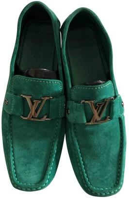 Louis Vuitton Green Suede Flats