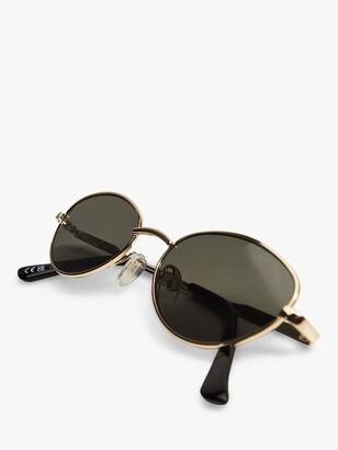 MANGO Lola Oval Frame Sunglasses, Gold