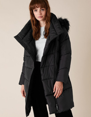 Monsoon Pasty Long Padded Coat in Recycled Fabric Blue