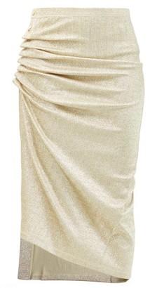 Paco Rabanne Button-ruched Lurex Midi Skirt - Silver Gold
