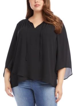 Karen Kane Plus Size Bracelet-Sleeve Crossover Top