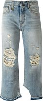 R 13 distressed straight leg jeans