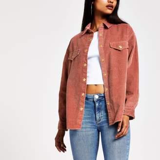 River Island Womens Petite Pink cord long sleeve boyfriend shirt
