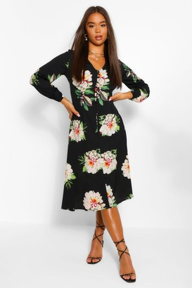 boohoo Floral Print Button Detail 3/4 Sleeve Midi Dress
