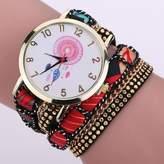 ABC Women's Watch, Women's Fashion Dream Catcher Chimes Crystal Rivet Bracelet Braided Winding Wrap Quartz Wrist Watch