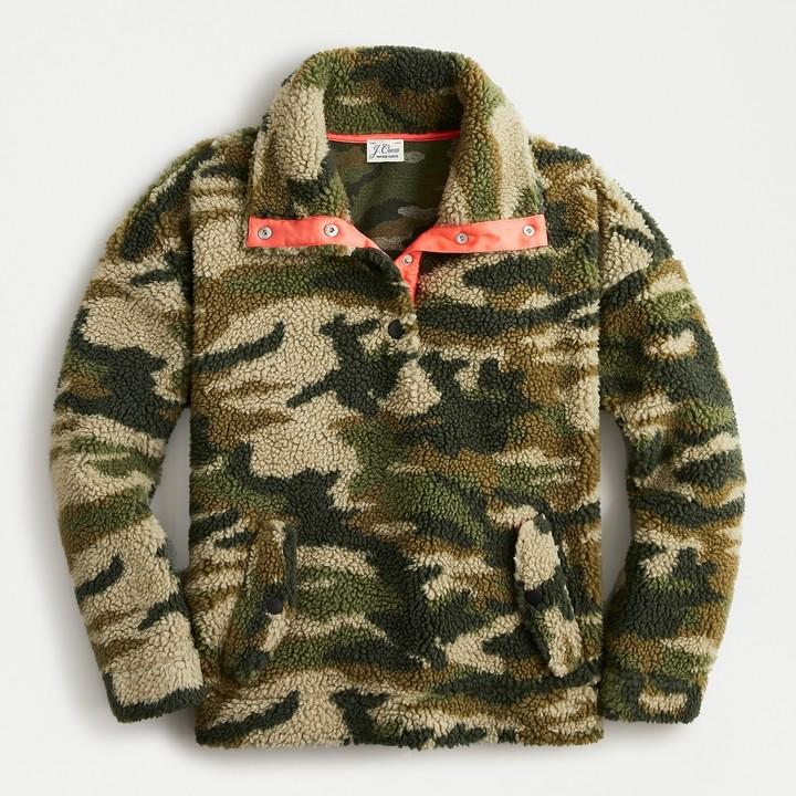 J.Crew Snapcollar sherpa fleece sweatshirt in camo