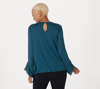 Lisa Rinna Collection Flounce Long Sleeve Blouse