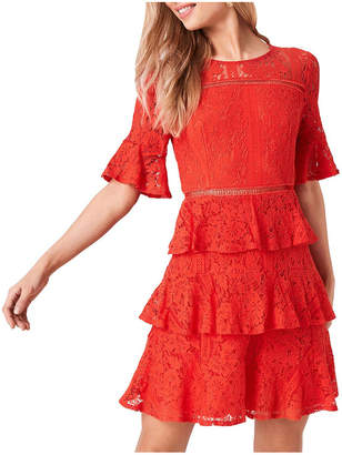 Girls On Film Lace Short Sleeve Tiered Dress