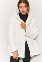 Forever 21 Hooded Faux Fur Open-Front Coat