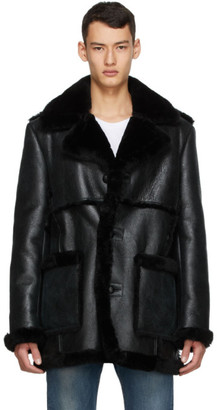 Schott SSENSE Exclusive Black Shearling Coat
