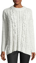 1 STATE 1.STATE Drop-Shoulder Cable-Knit Sweater, Off White