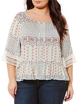 Democracy Plus Round Neck Surplus Bell Sleeve Top