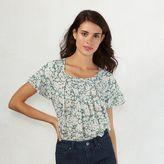 Lauren Conrad Women's Pleated Flutter Top