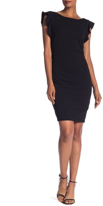Marina Ruffle Sleeve Sheath Dress