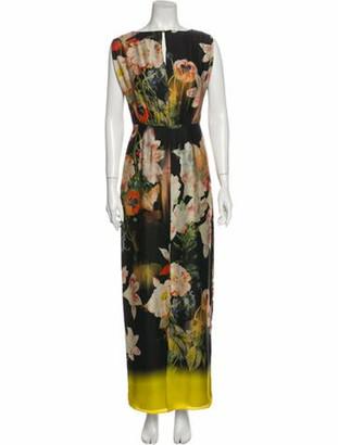 Ted Baker Floral Print Long Dress Black