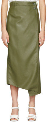 Áeron Green Faux-Leather Lucilla Wrap Skirt