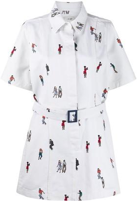 Kirin Dancing Embroidered Shirt Dress