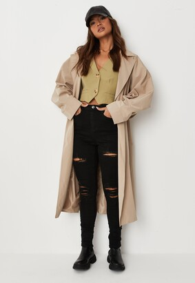 Missguided Black High Waisted Distressed Leg Jeans