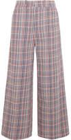 Joseph Ferrandi Checked Cotton-tweed Wide-leg Pants - Blue