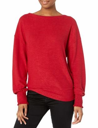 Lucky Brand Women's Long Sleeve Scoop Neck Cloud Jersey Smocking Top