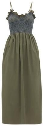 Loretta Caponi - Bianca Shirred-bodice Embroidered Cotton Dress - Khaki Multi
