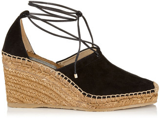 Jimmy Choo DULCET 90 Black Suede and Nappa Espadrille Wedge