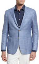 Canali Wool-Blend Two-Button Blazer, Light Blue