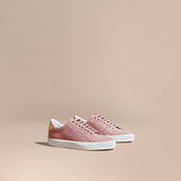 Burberry Perforated Check Leather Trainers , Size: 39.5, Pink