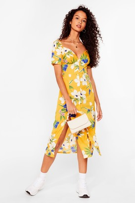 Nasty Gal Womens Floral Puff Sleeve Summer Midi Dress - Yellow - 6