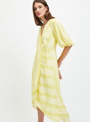 Miss Selfridge Yellow Stripe Wrap Midi Dress