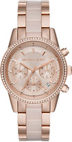 Michael Kors Women's Chronograph Ritz Blush Acetate and Rose Gold-Tone Stainless Steel Bracelet Watch 37mm MK6307