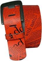 FRONHOFER Wide NEON Belt 1.9' wide leather belt NEON belt, crocodile belt 5 cm, Size:waist size 37.5 IN L EU 95 cm, Color: