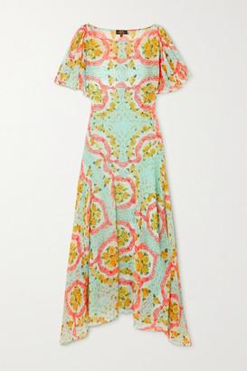 De La Vali Olivia Asymmetric Floral-print Chiffon Dress - Turquoise