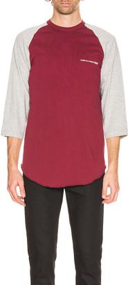 Comme des Garçons Shirt Logo Tee in Grey & Burgundy   FWRD