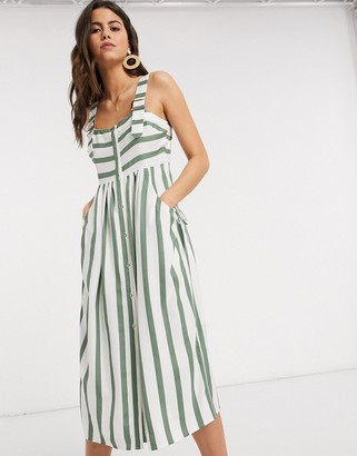 ASOS DESIGN dungaree midi sundress with buckles in stripe print
