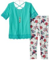Self Esteem Girls 7-16 Fringed Knit Top, Floral Pants & Necklace