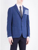 Lardini Colour block regular-fit cotton-blend jacket
