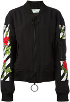 Off-White roses logo bomber jacket - women - Cotton/Acrylic/Polyamide/Wool - XS