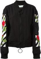 Off-White roses logo bomber jacket - women - Cotton/Acrylic/Polyamide/Wool - XXS
