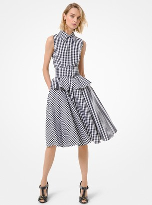 Michael Kors Collection Gingham Poplin Belted Shirtdress