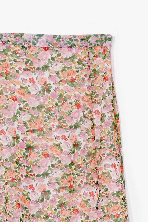 Thumbnail for your product : Nasty Gal Womens Floral Loose Slit Maxi Skirt - White - 8