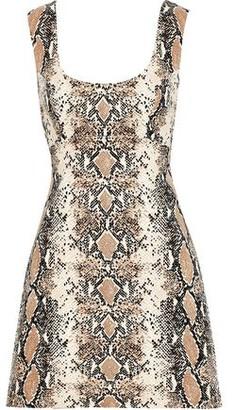 Diane von Furstenberg Tessa Cutout Snake-print Stretch-cotton Mini Dress