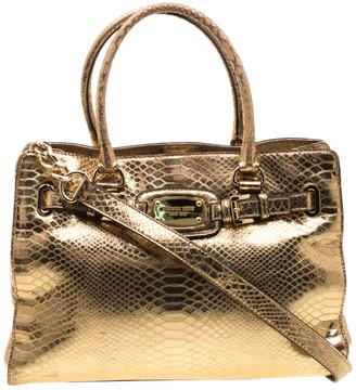 MICHAEL Michael Kors Gold Metallic Python Embossed Leather Hamilton Tote
