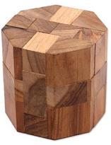 Handcrafted Teak Wood Executive Desk Puzzle Brainteaser, 'Octagon'