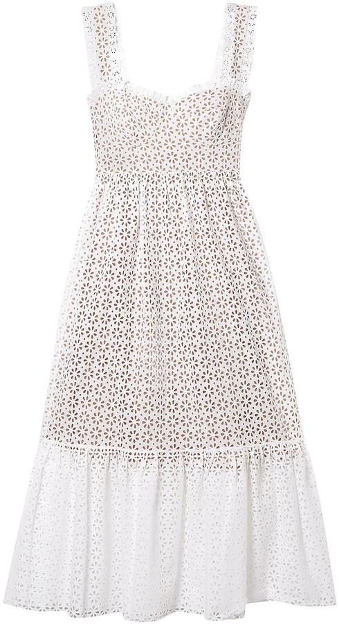 Michael Kors Collection Broderie Anglaise Cotton Midi Dress
